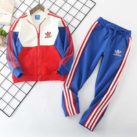 Adidas Girls Boys Children Baby Toddler Kids Child Fashion Casual Cardigan Jacket Coat Pants Trousers Two Piece Set