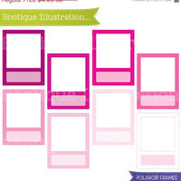 75% OFF Pink Polaroid Frames Clipart Set. Pink Frames Clipart Digial Graphics for Personal and Commercial Use* Png, Jpeg, Eps Included