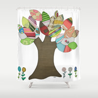 Button Tree Shower Curtain by Erin Brie Art