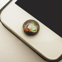 1pc Epoxy Glass Time Gems Cute Green Tropic Tree Frog Alloy Cell Phone Home Button Sticker Charm for iPhone 4s,4g,5,5c,5s,6 iPad 2,3,4 Charm