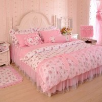 Pink Princess Korean Bedding set Rural Floral Print Duvet Cover Cotton lace Ruffle Bed Skirt Queen Bed in a Bag 4pcs