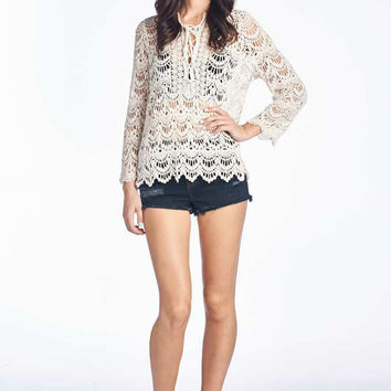 Ivory Crochet Lace Up Top
