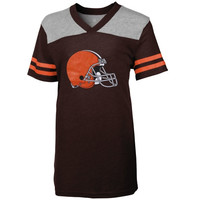Cleveland Browns Girls Youth Glitter Heathered V-Neck T-Shirt - Brown