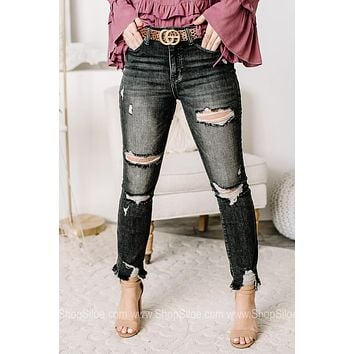 Speaking Of It Turn Back Cuff Straight Jeans | Charcoal