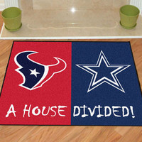 "NFL - Houston Texans - Dallas Cowboys House Divided Rugs 34""x45"""