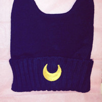 Sailor Moon Inspired Beanie // Luna Black Cat Ears // W Spikes or No Spikes