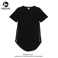 NEW 2018 pring hip-hop oversized extended Solid Color Tshirt for men Longline cotton side zippers kanye west autumn tshirt