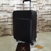 VINTAGE Louis Vuitton Black Monogram Coated Canvas Top Handle Suitcase