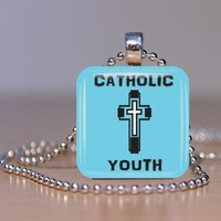 Catholic Youth Glass Tile Necklace Made to Order Choose Your Colors