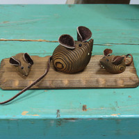 Set of 3 Carved Mice Cryptomeria Wood Japan Mid Century Wooden Mouse