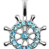 Nautical Ship Yacht Wheel Belly Button Ring with Paved Cz's - 316L Surgical Steel 14g Navel Ring - Choose Clear or Aqua (Aqua)