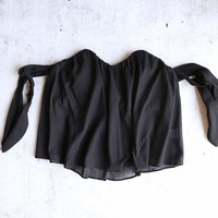 Final Sale - 4SI3NNA - Mesh Tie Off the Shoulder Blouse Top in Black