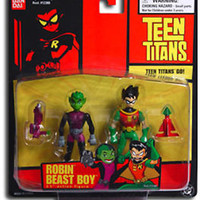 "TEEN TITANS ANIMATED SERIES: 3.5"" ROBIN & BEAST BOY FIGURES 2 PACK RARE"