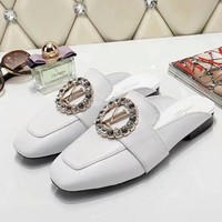 Louis Vuitton LV Women Leather Fashion Casual Slipper Shoes