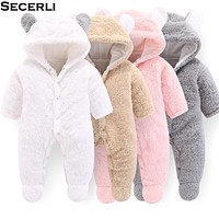 Autumn Winter Baby Rompers 1 to 12M Kids born Footies Bodysuit Hooded Infant Cotton Jumpsuit Baby Boy Girl Clothing