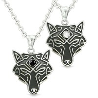 Celtic Wolf Third Eye Love Couple or Best Friends Set Simulated Onyx White Simulated Cats Eye Necklaces