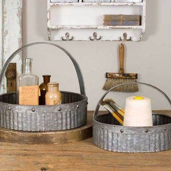 Corrugated Baskets - Set of 2