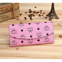 MCM Classic Full Letters Willow Nail Ladies Side Long Clutch Wallet