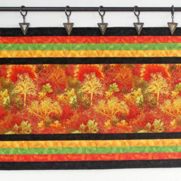 Fall Table Runner, Quilted Wall Hanging, Autumn Table Topper, Fall Wall Quilt, Red Black Orange Table Quilt, Quiltsy Handmade