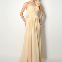 Beige Floral Strap Ruched Long Gown