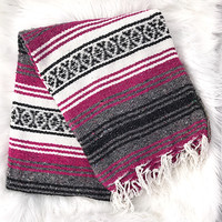 Authentic Mexican Blanket in Plum