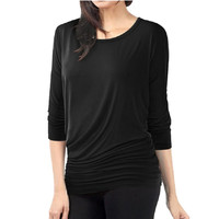 Plus Size Women O neck Batwing Sleeve Casual T-shirt Basic Long Sleeve Tees Cozy Solid Color Tops UBY
