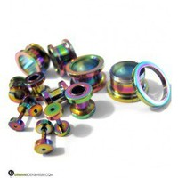 "Stainless Steel Rainbow Screw on Tunnels (14G - 7/8"") 