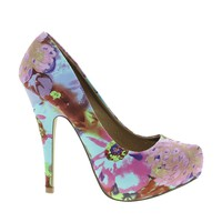 Timeless Ounce Blue Floral Heeled Shoes