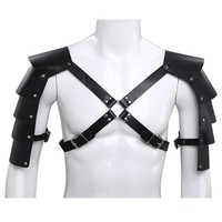 Cosplay Men's Adjustable Faux Leather Body Chest Harness with Shoulder Armors Buckles