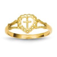 14k Yellow Gold Diam.-Cut Childs Heart And Cross Ring
