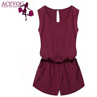 ACEVOG Summer Jumpsuit 2017 Women Jumpsuit Casual Sexy Lady Sleeveless Backless Elastic Waist Print  Mini Romper