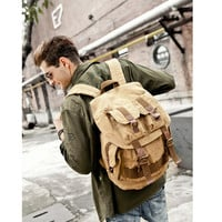 Army Green Canvas Travel Rucksack Backpack