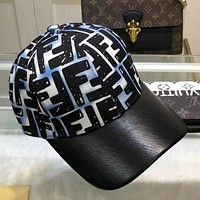 FENDI Baseball Cap Letter FF Color-blocked Peaked Hat Dome Mens and Womens Bucket Cap