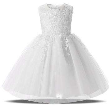 White First Communion Girl Dresses Tulle Lace Infant Toddler Girl Clothes Pageant Baptism Birthday Party