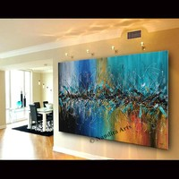 "Luxury Style Abstract Wall Art, 72"" Jackson Pollock Look Blue Painting on Canvas, Original Oil Painting Teal Wall Decor by Nandita Albright"