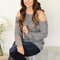 *Ariettie Cold Shoulder Knit Sweater : Charcoal