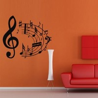 Wall Decal Decor Decals Art Sticker Note Music Song Heart Relax Key Treble Clef (M384)