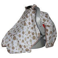 uElegant Baby Car Seat Cover - Windproof - Fits All Car Seats - Soft, Breathable, Premium 100% Cotton Muslin -Cute Design - Perfect For Baby Boy or Girl (Brown Dots)
