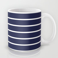 Navy White Stripe Pattern Mug by RexLambo | Society6