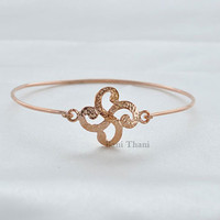 Beautiful Handcrafted Textured Rose Gold Sterling Silver Bangle #1313