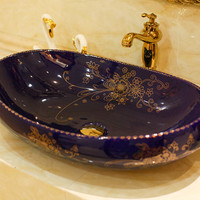 Oval Bathroom Lavabo Ceramic Counter Top Wash Basin Cloakroom Hand Painted Vessel Sink 5055