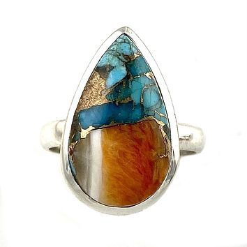 Spiny Oyster Blue Turquoise Sterling Silver Ring