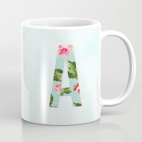 Floral Letter A - Letter Collection Mug by Allyson Johnson | Society6