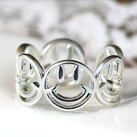New Smile Ring Open Adjustable Free Size for Womens Girls Kids Gift Idea