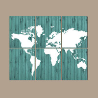 WORLD MAP Wall Art CANVAS or Prints Bedroom Home Wood Effect Custom Colors Desk Office Library Room Set of 6