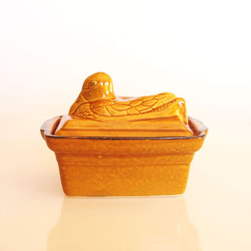 French duck butter dish, animal butter dish with lid, antique kitchen pottery, vintage ceramic butter keeper, French country kitchen decor