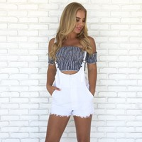 Austin Denim Short Overalls in White