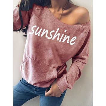 2020 fall/winter women's letter print off-shoulder long-sleeved sweater
