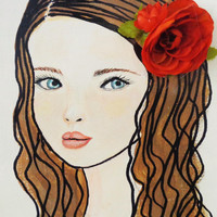 Girls with Flowers - Mixed Media Wall Art - Blue Eyes - Brown Hair- original portrait on Canvas - 9 X 12 inches
