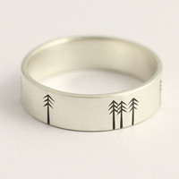 Wedding Band, Wedding Ring or Engagement Ring with Pine Trees Matte White Gold